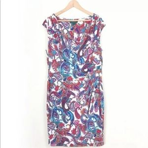 Ralph Lauren Paisley Cowl Neck Sheath Dress 16W